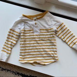 Osh kosh b'gosh striped yellow and white henley